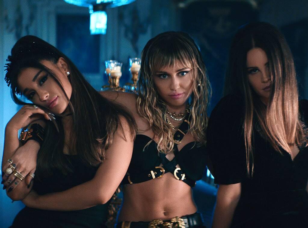 "As Panteras: Ariana Grande, Miley Cyrus e Lana Del Rey lançam clipe de ""Don't Call Me Angel"""